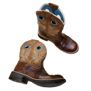 Ariat Brown and Teal Pattern Western Cowboy Boots